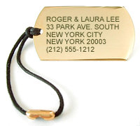 Lustrous gold-plated luggage tags engraved to pefection - CLICK HERE