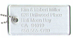 Travelers LOVE these!  Discreet yet-elegant laser engraved lucite - CLICK HERE